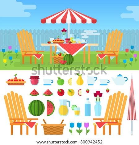 Summer picnic in garden with flowers: umbrella, chairs, basket with food, fruits, cake. Illustration, icon set flat design of picnic items. For web banners promotional materials presentation templates - stock photo