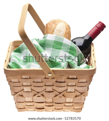 Summer Picnic Scene with Bread, Red Wine and a Picnic Basket.  Isolated on White with a Clipping Path.