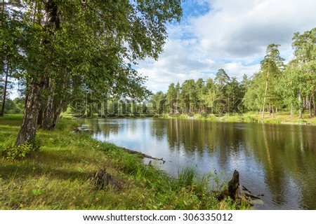 summer pond in the woods, Ural Russia - stock photo