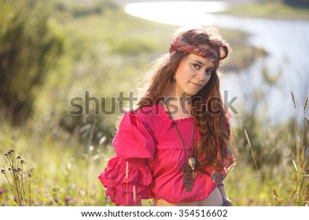 summer portrait of a brown-eyed girl dressed in the style of boho