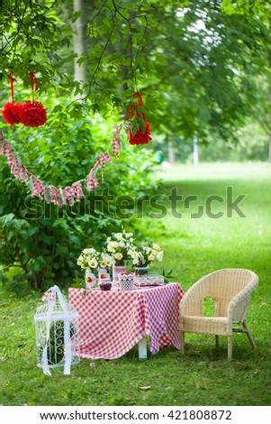 Summer red and green decor outdoors. Teatime with berries