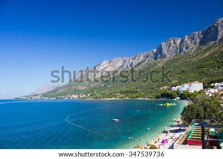 Summer resort of Gradac under the mountains, Croatia - stock photo