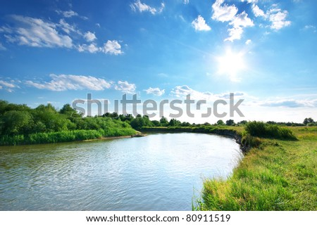 Summer river. Composition of nature. - stock photo