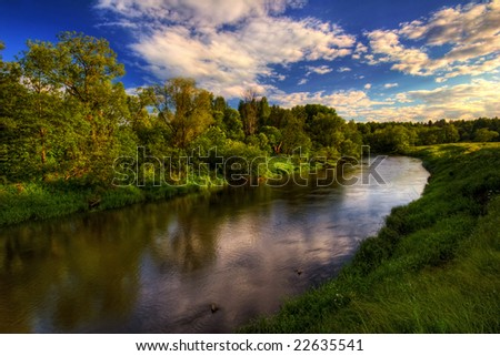 Summer river. It is photographed in Russia. 60 kilometers on East from Moscow.