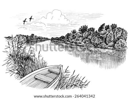 Summer riverbank landscape, ink drawing - stock photo