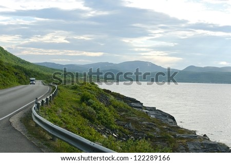 Summer road to mountain, Lofoten islands, Norway