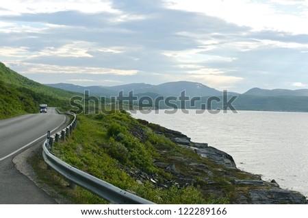 Summer road to mountain, Lofoten islands, Norway - stock photo