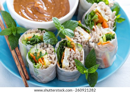Summer rolls with soba noodles, egg and vegetables - stock photo