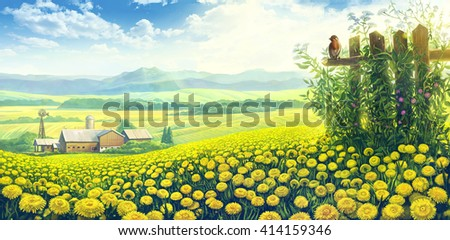 Summer rural landscape with blossoming dandelions flowers and farm on the background.