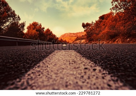 Summer rural landscape with road in Spain. View point from layout. - stock photo
