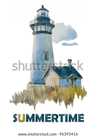 Summer's lighthouse watercolor - stock photo