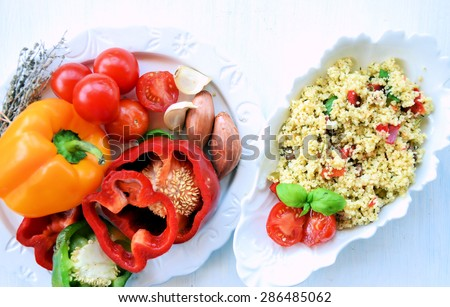 summer salad and fresh vegetables, natural food - stock photo