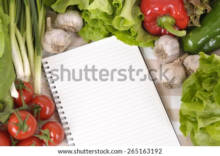 Summer salad vegetable, cookbook, copy space - stock photo