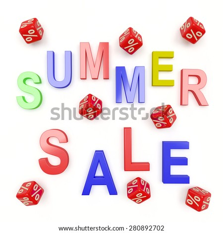 SUMMER SALE and red cubes with percent sign isolated on white background - stock photo