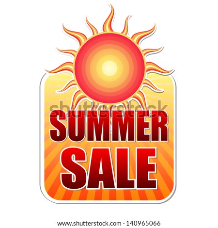 summer sale banner - text in yellow label with red sun and orange sunrays, business concept