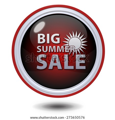 Summer sale circular icon on white background