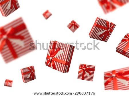 Summer sale concept with gift boxes flying over white background - stock photo