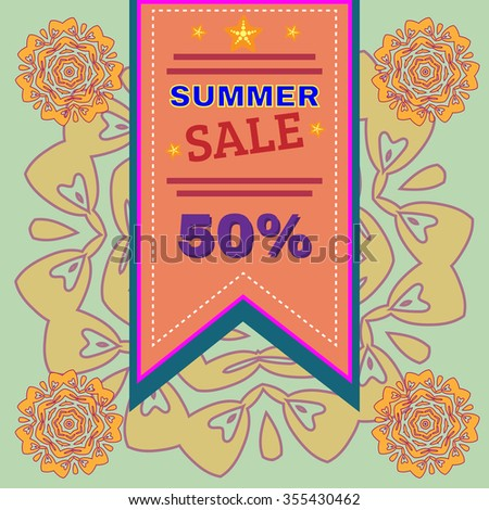 Summer Sale Percentage Discount Flyer Raster Illustration. Holiday Hot Vacation Card. Market Shop Goods Sale Banner. - stock photo