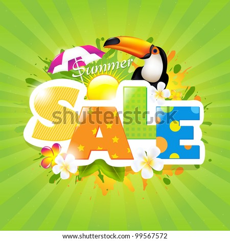 Summer Sale Poster Design Template - stock photo