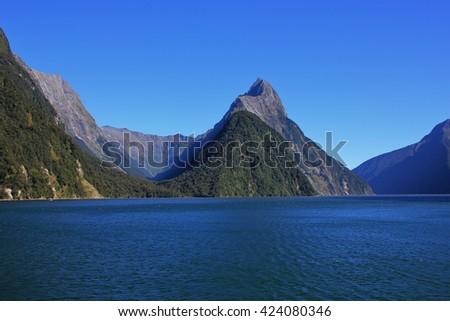 Summer scene in the Milford Sound, New Zealand. Popular  travel destination. Mitre Peak. - stock photo