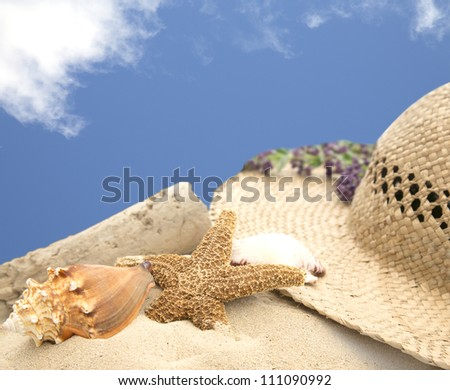 summer scene of a beach hat on sand with seashells and blue sky - stock photo