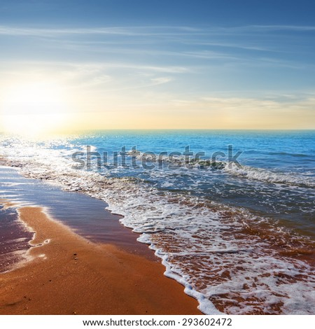 summer sea coast at the sunset - stock photo