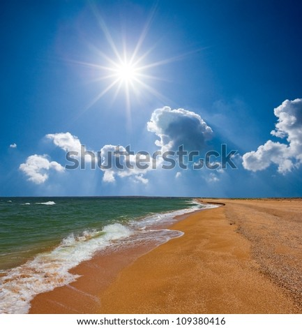 summer sea sandy beach - stock photo