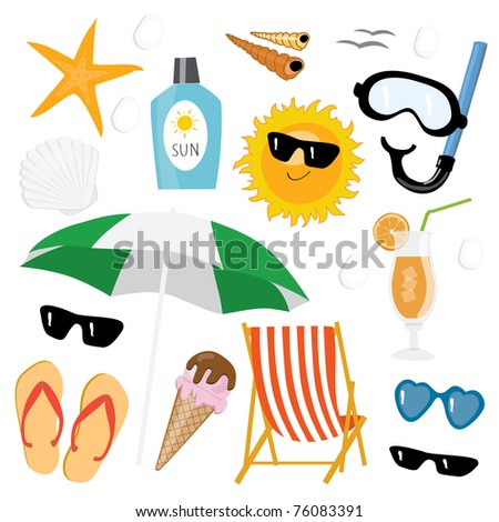 Summer sea vacation icon set - stock photo