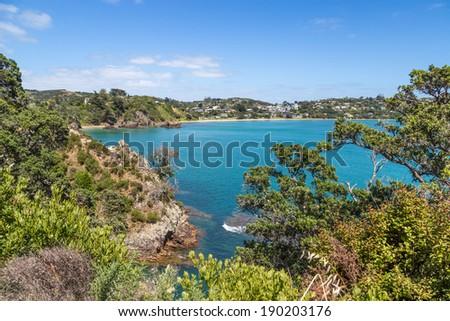 Summer sea view, Mawhitipana Bay on Waiheke Island, New Zealand - stock photo