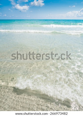 Summer sea wave and beach - stock photo