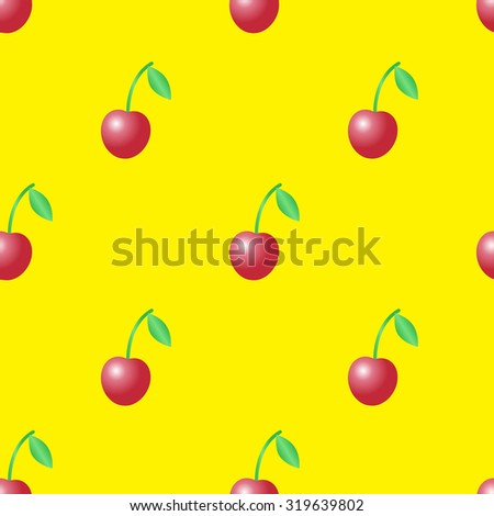 Summer seamless pattern with red cherries on the yellow background. - stock photo