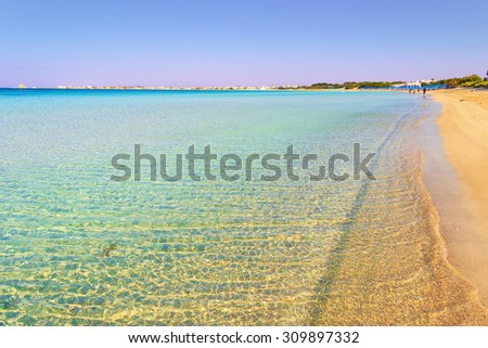 SUMMER SEASCAPE.Ionian coast of Salento:Porto Cesareo beach (Lecce).- ITALY -.It is a tourist resort thanks to its sunny beaches extending for 17 kilometres and its clear waters.  - stock photo