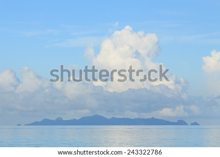 Summer seascape with blue sky background - stock photo