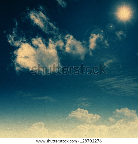 Summer sky. Abstract retro styled backgrounds with old cardboard texture - stock photo