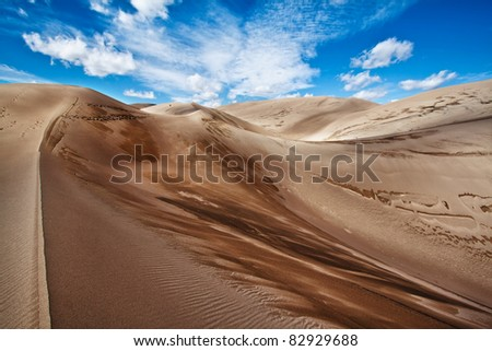 Summer sky and and sand in Sand Dunes National Park, Colorado