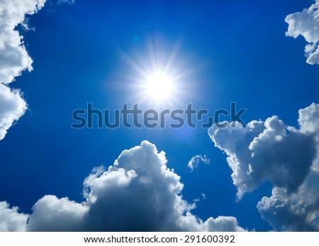Summer Sky Cloudscape Area with the Sun - stock photo