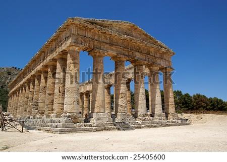 Summer sky in the Greek temple in Segesta (Sicily, Italy) - stock photo