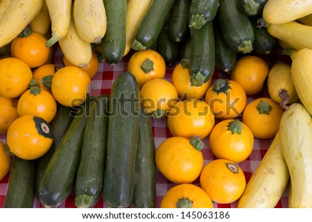 Summer Squash and Zucchini Background - stock photo