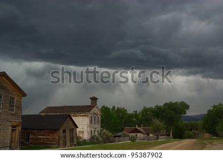 Summer Storm over Bannack, Montana - stock photo