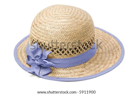 Summer straw hat isolated on white