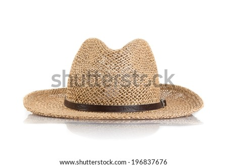 Summer straw hat isolated on white background - stock photo