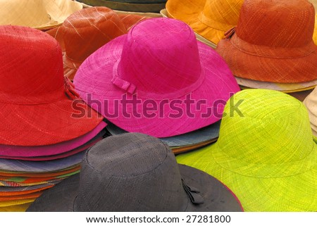 Summer straw lady's hats at a market in France