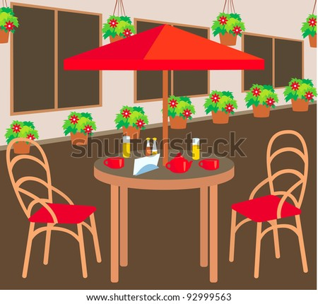 Summer street cafe. raster illustration. - stock photo