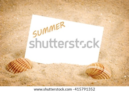 Summer. Summer.Summer background with empty tag.Summer.  Summer. Summer text. Summer. Summer concept . Summer. Summer background.Summer, sea shells with sand - background. Summer time. Summer frame. - stock photo