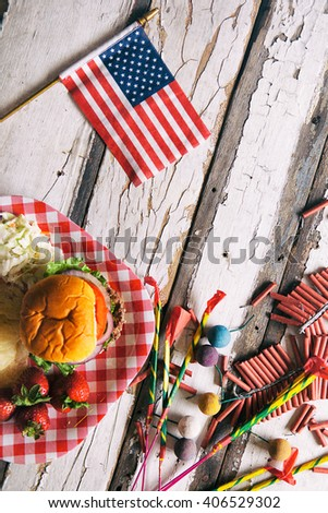 Summer: Summertime Patriotic Party Background With Fireworks - stock photo