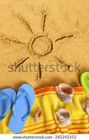 Summer sun beach vacation sand drawing vertical
