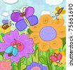 summer sunny day, flowers and insects, butterflies and beetles, - stock vector