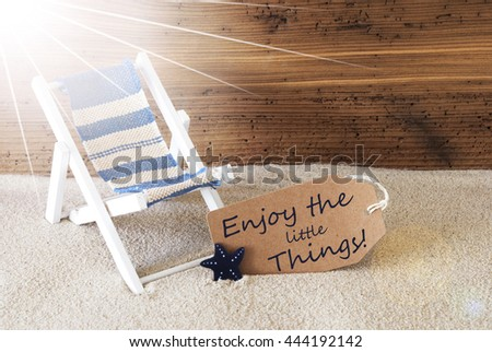 Summer Sunny Label And Quote Enjoy Little Things - stock photo
