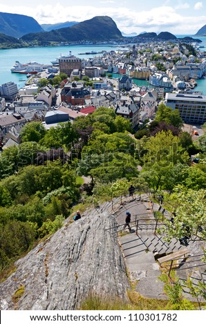 Summer, Sunny view of Alesund Norway - stock photo
