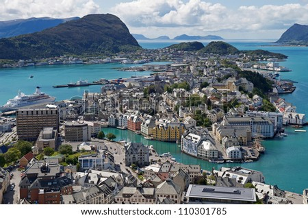 Summer, Sunny view of Alesund Norway
